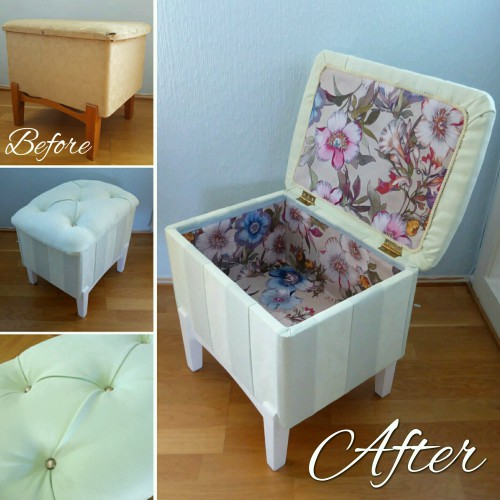 Tufted Mint Pouf Before And After