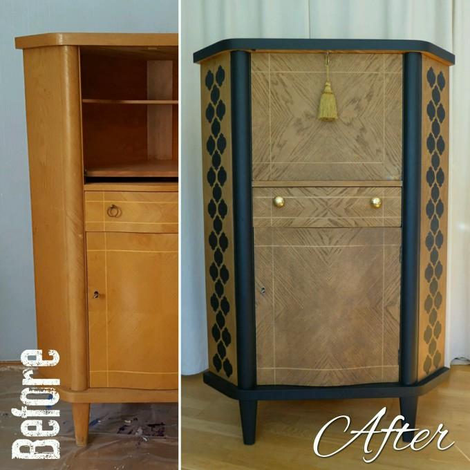 Black And Oak Cabinet