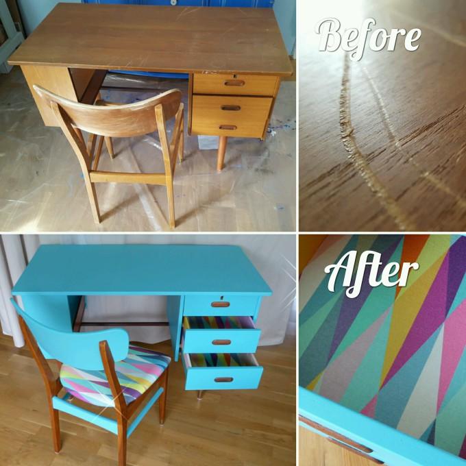 Color Bomb Teak Desk Before After