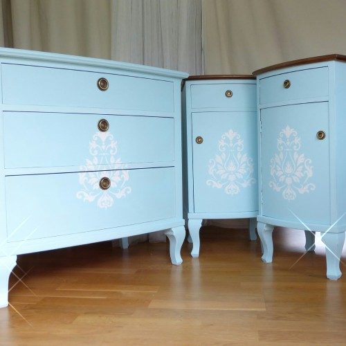 Light Blue Shabby Chic Bedroom Set (9)