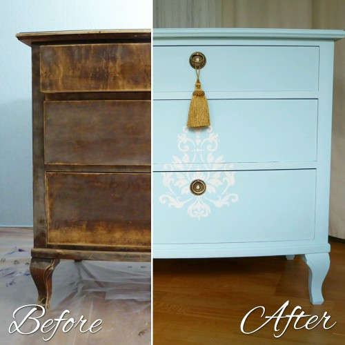 Light Blue Shabby Chic Bedroom Set Dresser Before After